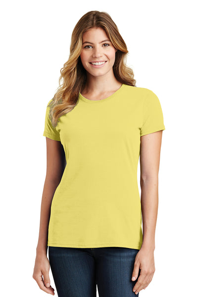Port & Company LPC450 Womens Fan Favorite Short Sleeve Crewneck T-Shirt Yellow Front