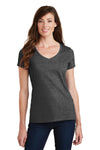 Port & Company LPC450V Womens Fan Favorite Short Sleeve V-Neck T-Shirt Heather Dark Grey Front
