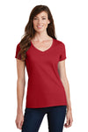 Port & Company LPC450V Womens Fan Favorite Short Sleeve V-Neck T-Shirt Cardinal Red Front