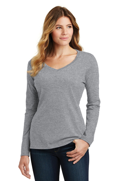 Port & Company LPC450VLS Womens Fan Favorite Long Sleeve V-Neck T-Shirt Heather Grey Front