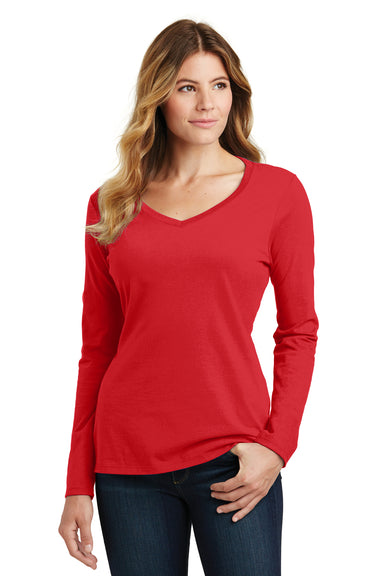 Port & Company LPC450VLS Womens Fan Favorite Long Sleeve V-Neck T-Shirt Red Front