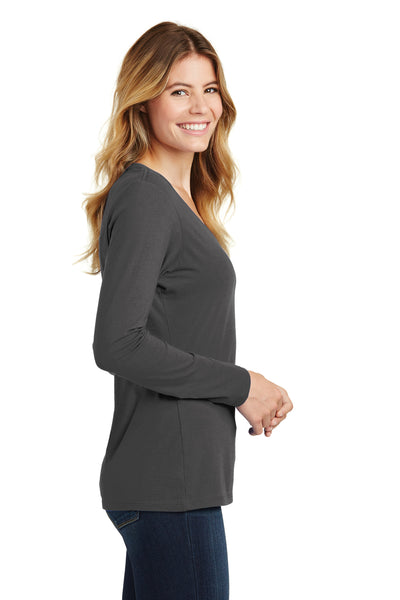 Port & Company LPC450VLS Womens Fan Favorite Long Sleeve V-Neck T-Shirt Charcoal Grey Side