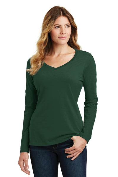 Port & Company LPC450VLS Womens Fan Favorite Long Sleeve V-Neck T-Shirt Forest Green Front