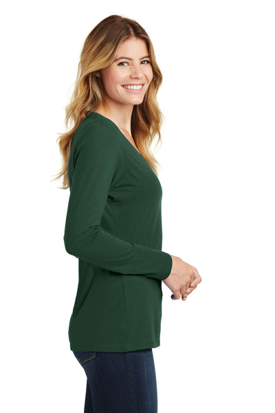 Port & Company LPC450VLS Womens Fan Favorite Long Sleeve V-Neck T-Shirt Forest Green Side