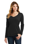 Port & Company LPC450VLS Womens Fan Favorite Long Sleeve V-Neck T-Shirt Black Front