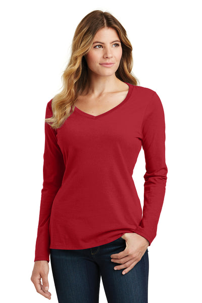 Port & Company LPC450VLS Womens Fan Favorite Long Sleeve V-Neck T-Shirt Cardinal Red Front