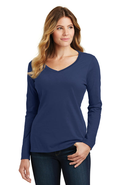 Port & Company LPC450VLS Womens Fan Favorite Long Sleeve V-Neck T-Shirt Navy Blue Front