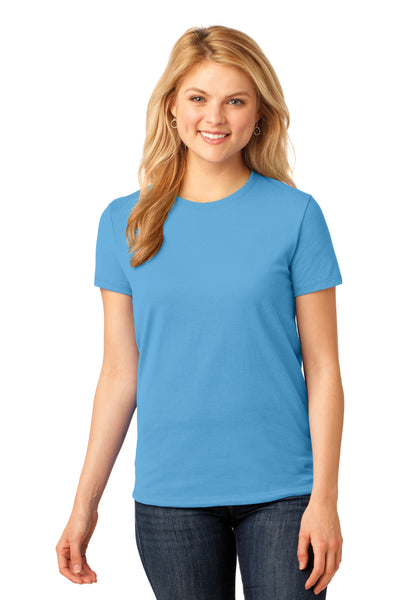 Port & Company LPC54 Womens Core Short Sleeve Crewneck T-Shirt Aqua Blue Front
