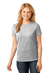 Port & Company LPC54 Womens Core Short Sleeve Crewneck T-Shirt Ash Grey Front