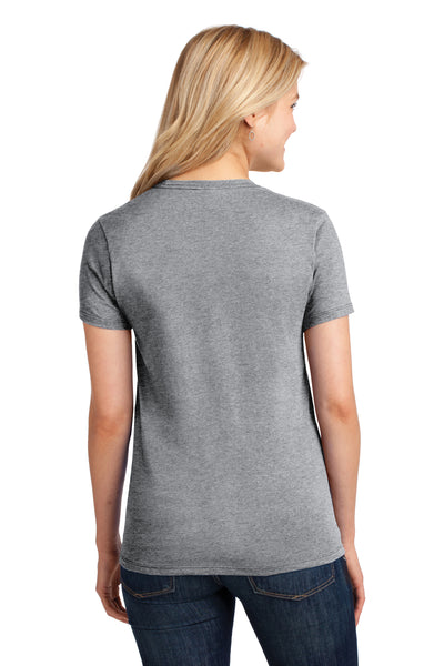 Port & Company LPC54 Womens Core Short Sleeve Crewneck T-Shirt Heather Grey Back