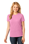 Port & Company LPC54 Womens Core Short Sleeve Crewneck T-Shirt Candy Pink Front