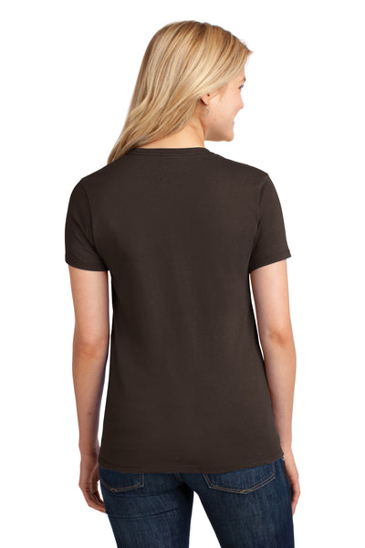 Port & Company LPC54 Womens Core Short Sleeve Crewneck T-Shirt Chocolate Brown Back