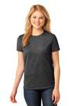 Port & Company LPC54 Womens Core Short Sleeve Crewneck T-Shirt Heather Dark Grey Front