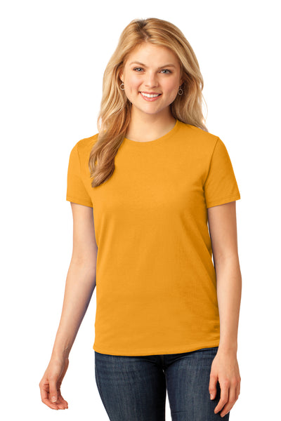 Port & Company LPC54 Womens Core Short Sleeve Crewneck T-Shirt Gold Front