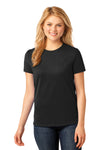 Port & Company LPC54 Womens Core Short Sleeve Crewneck T-Shirt Black Front