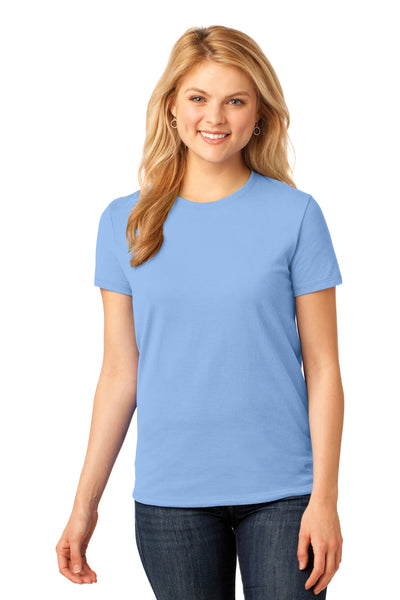 Port & Company LPC54 Womens Core Short Sleeve Crewneck T-Shirt Light Blue Front