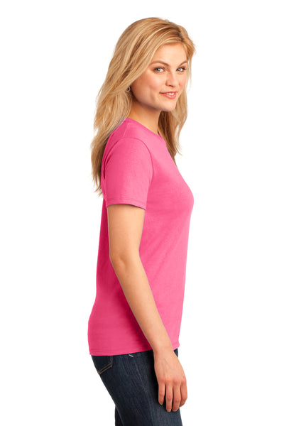 Port & Company LPC54 Womens Core Short Sleeve Crewneck T-Shirt Neon Pink Side