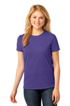 Port & Company LPC54 Womens Core Short Sleeve Crewneck T-Shirt Purple Front