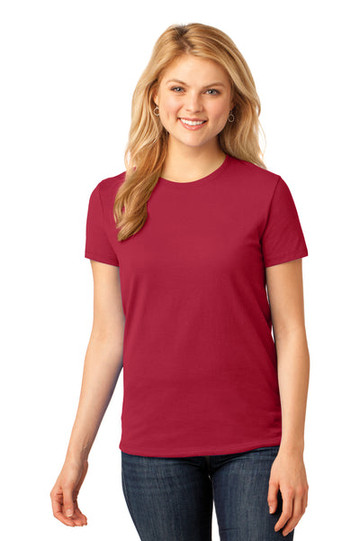 Port & Company LPC54 Womens Core Short Sleeve Crewneck T-Shirt Red Front
