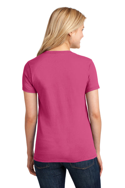 Port & Company LPC54 Womens Core Short Sleeve Crewneck T-Shirt Sangria Pink Back