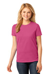 Port & Company LPC54 Womens Core Short Sleeve Crewneck T-Shirt Sangria Pink Front