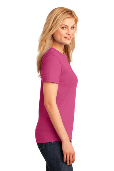 Port & Company LPC54 Womens Core Short Sleeve Crewneck T-Shirt Sangria Pink Side