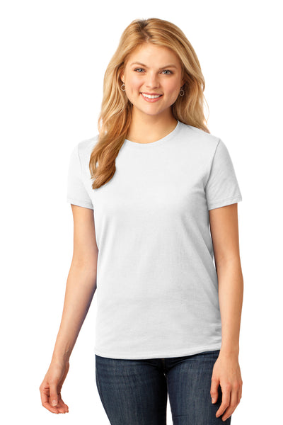 Port & Company LPC54 Womens Core Short Sleeve Crewneck T-Shirt White Front
