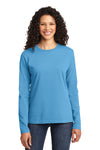 Port & Company LPC54LS Womens Core Long Sleeve Crewneck T-Shirt Aqua Blue Front