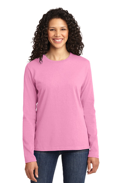 Port & Company LPC54LS Womens Core Long Sleeve Crewneck T-Shirt Candy Pink Front