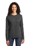 Port & Company LPC54LS Womens Core Long Sleeve Crewneck T-Shirt Heather Dark Grey Front