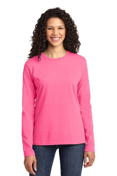 Port & Company LPC54LS Womens Core Long Sleeve Crewneck T-Shirt Neon Pink Front