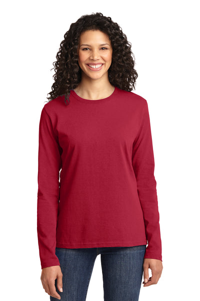 Port & Company LPC54LS Womens Core Long Sleeve Crewneck T-Shirt Red Front