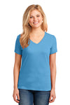 Port & Company LPC54V Womens Core Short Sleeve V-Neck T-Shirt Aqua Blue Front