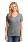 Port & Company LPC54V Womens Core Short Sleeve V-Neck T-Shirt Heather Grey Front
