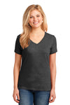 Port & Company LPC54V Womens Core Short Sleeve V-Neck T-Shirt Heather Dark Grey Front