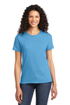 Port & Company LPC61 Womens Essential Short Sleeve Crewneck T-Shirt Aqua Blue Front