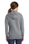 Port & Company LPC78ZH Womens Core Fleece Full Zip Hooded Sweatshirt Hoodie Heather Grey Back