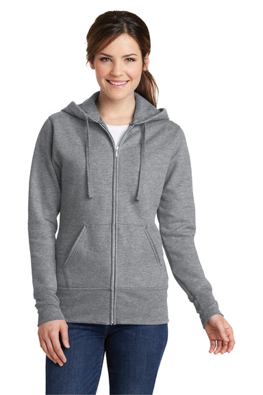 Port & Company LPC78ZH Womens Core Fleece Full Zip Hooded Sweatshirt Hoodie Heather Grey Front