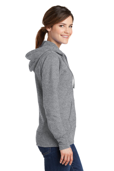 Port & Company LPC78ZH Womens Core Fleece Full Zip Hooded Sweatshirt Hoodie Heather Grey Side