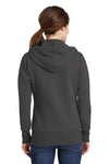 Port & Company LPC78ZH Womens Core Fleece Full Zip Hooded Sweatshirt Hoodie Charcoal Grey Back
