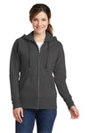 Port & Company LPC78ZH Womens Core Fleece Full Zip Hooded Sweatshirt Hoodie Charcoal Grey Front
