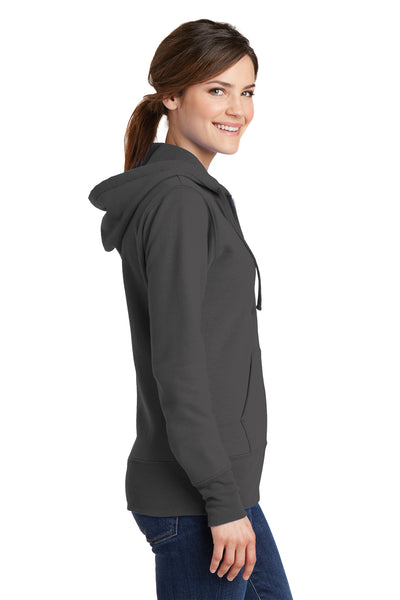 Port & Company LPC78ZH Womens Core Fleece Full Zip Hooded Sweatshirt Hoodie Charcoal Grey Side