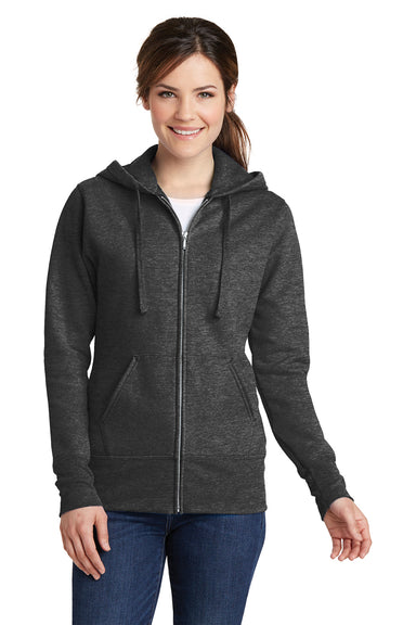 Port & Company LPC78ZH Womens Core Fleece Full Zip Hooded Sweatshirt Hoodie Heather Dark Grey Front