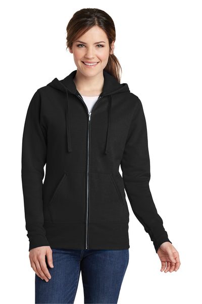 Port & Company LPC78ZH Womens Core Fleece Full Zip Hooded Sweatshirt Hoodie Black Front