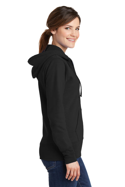 Port & Company LPC78ZH Womens Core Fleece Full Zip Hooded Sweatshirt Hoodie Black Side
