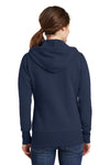 Port & Company LPC78ZH Womens Core Fleece Full Zip Hooded Sweatshirt Hoodie Navy Blue Back