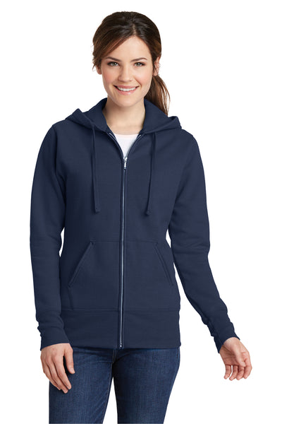 Port & Company LPC78ZH Womens Core Fleece Full Zip Hooded Sweatshirt Hoodie Navy Blue Front