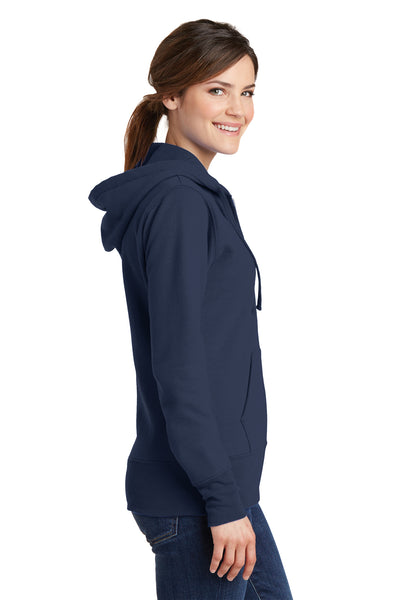 Port & Company LPC78ZH Womens Core Fleece Full Zip Hooded Sweatshirt Hoodie Navy Blue Side