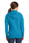 Port & Company LPC78ZH Womens Core Fleece Full Zip Hooded Sweatshirt Hoodie Neon Blue Back