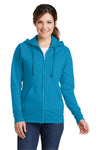 Port & Company LPC78ZH Womens Core Fleece Full Zip Hooded Sweatshirt Hoodie Neon Blue Front